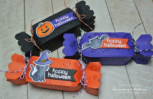 Halloween Candy Boxes using heat embossing