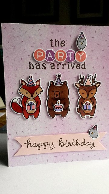 Birthday Card for my niece! #lawnfawn #partyanimals