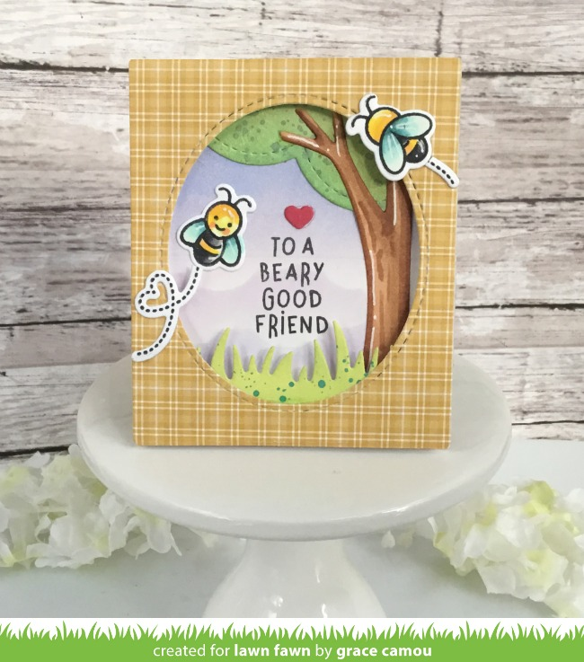 An Adorable Winnie The Pooh Themed Card With Grace Lawn Fawn